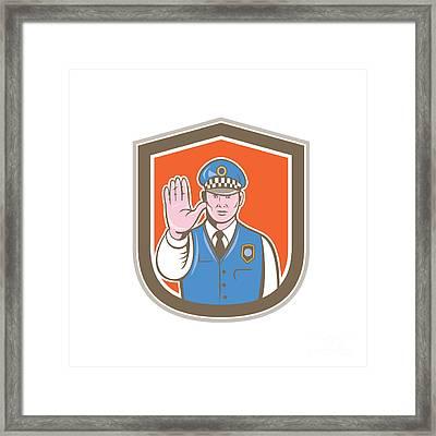 Traffic Policeman Hand Stop Sign Shield Cartoon Framed Print by Aloysius Patrimonio