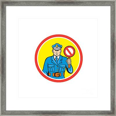Traffic Policeman Stop Hand Signal Cartoon Framed Print by Aloysius Patrimonio