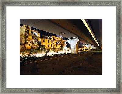 Traffic Running Beneath Flyover Framed Print by Sumit Mehndiratta