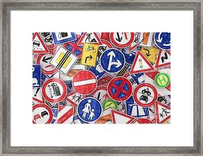 Traffic Signs Framed Print by Carsten Reisinger