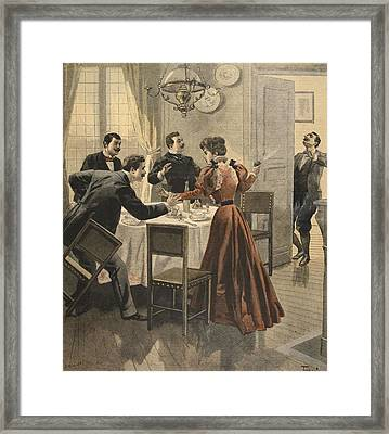 Tragic End To A Lunch, Illustration Framed Print by French School