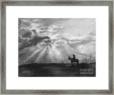 Cowboy Pencil Drawings Framed Print featuring the drawing Trails Of Adventure by J Ferwerda