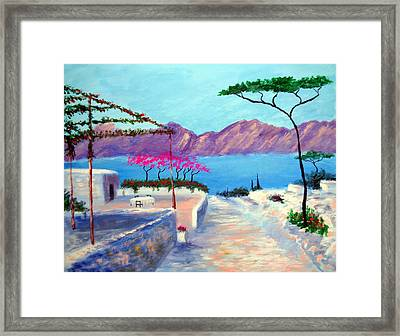 Trails Of Greece Framed Print by Larry Cirigliano