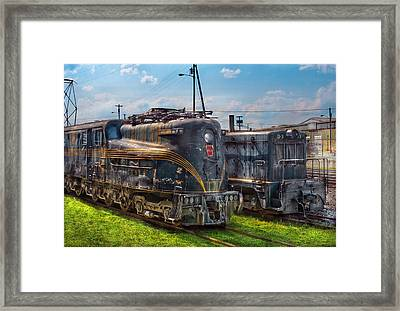 Train - Engine - 4919 - Pennsylvania Railroad Electric Locomotive  4919  Framed Print by Mike Savad