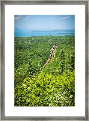 Train In Northern Ontario Framed Print by Elena Elisseeva