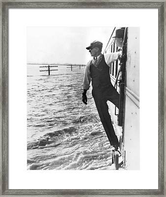 Train On Flooded Plain Framed Print by Underwood Archives