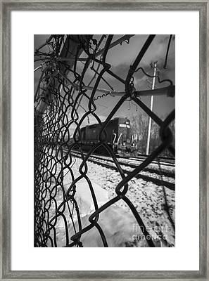 Train Through The Chain Link Fence Framed Print by Edward Fielding