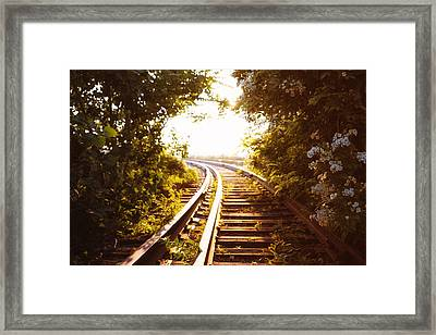 Train Tracks At Sunset Framed Print by Vivienne Gucwa