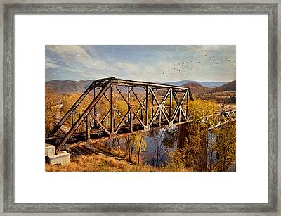 Train Trestle Framed Print by Kathy Jennings