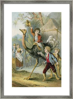 Training The Ostrich Framed Print by English School