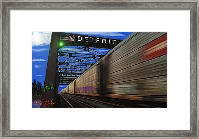 Trains Of Detroit Framed Print by Michael Rucker