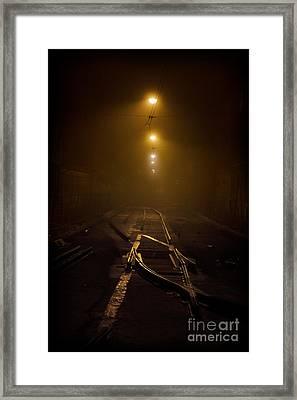 Tram Rails At Night Framed Print by Jaroslaw Blaminsky