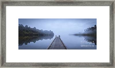 Tranquil Lake And Misty Dawn Panorama Framed Print by Colin and Linda McKie