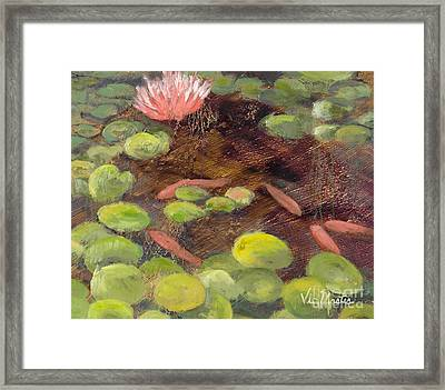 Tranquil Moments-rectangle With Gold Leaf By Vic Mastis Framed Print by Vic  Mastis