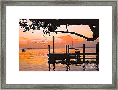 Tranquil Sunset Framed Print by Judy Kay