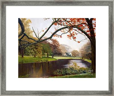 Tranquil Town Pond In East Hampton Framed Print by Barbara Barber