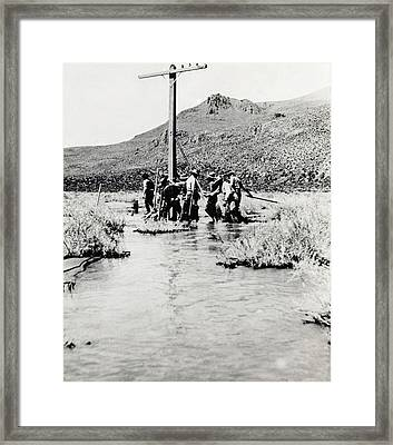 Transcontinental Telephone Line Framed Print by Miriam And Ira D. Wallach Division Of Art, Prints And Photographs/new York Public Library