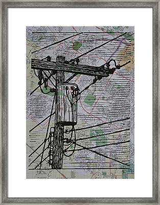 Transformer On Map Framed Print by William Cauthern