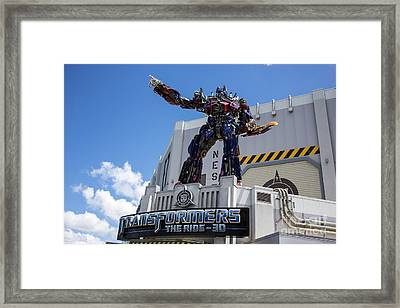 Transformers The Ride 3d Universal Studios Framed Print by Edward Fielding