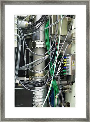 Transmission Electron Microscope Cables Framed Print by Ibm Research