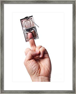 Trapped Middle Finger Framed Print by Sinisa Botas