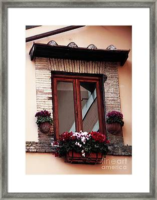 Trastevere Window Dressing Framed Print by John Rizzuto