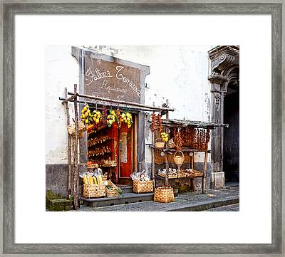 Tratorria In Italy Framed Print by Susan  Schmitz
