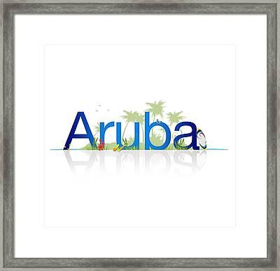 Travel Aruba Framed Print by Aged Pixel
