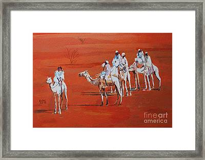 Travel By Camels Framed Print by Mohamed Fadul