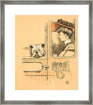 Traveling In First Class Framed Print by Cecil Charles Windsor Aldin