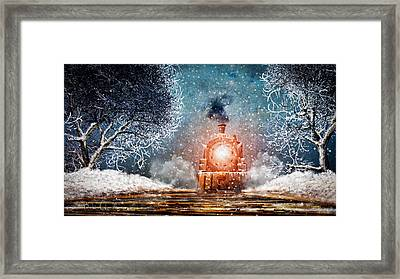 Traveling On Winters Night Framed Print by Bob Orsillo