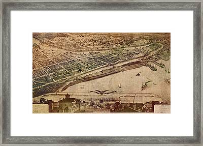 Traverse City Michigan Vintage 1879 Map Aerial View Of Grand Traverse Bay On Worn Parchment Framed Print by Design Turnpike