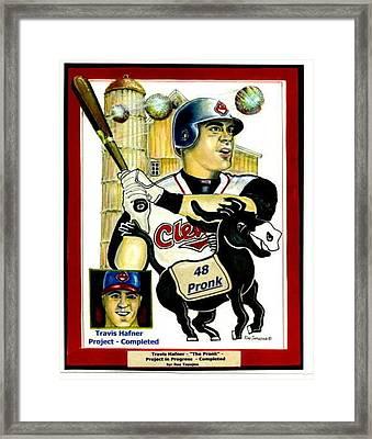 Travis Hafner Grand Slam Framed Print by Ray Tapajna