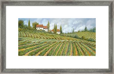 Tre Case Bianche Nella Vigna Framed Print by Guido Borelli