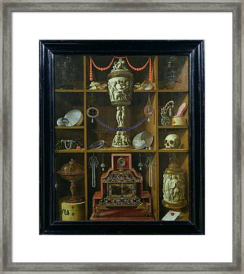 Treasure Chest, 1666 Oil On Canvas Framed Print by Johann Georg Hinz