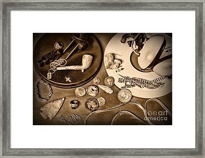 Treasure Hunter -  Metal Detecting - Black And White Framed Print by Paul Ward