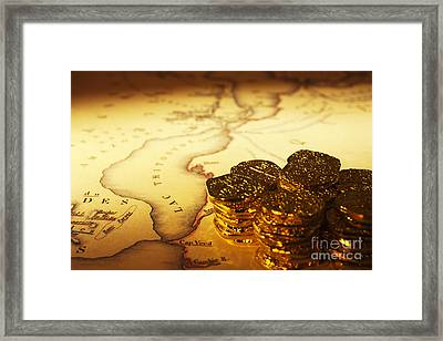 Treasure Map And Doubloons Framed Print by Colin and Linda McKie