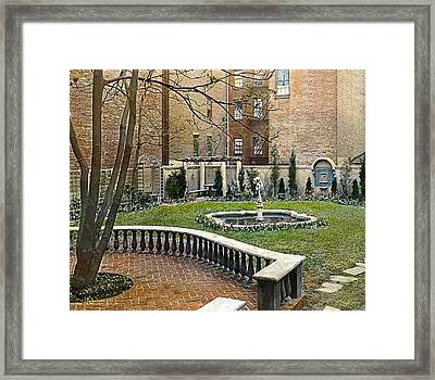 Tree And Bench Framed Print by Terry Reynoldson