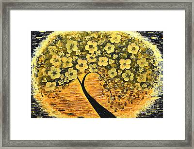Tree In Golden Framed Print by Mariana Stauffer