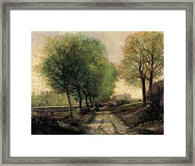 Tree-lined Avenue In A Small Town Framed Print by Alfred Sisley