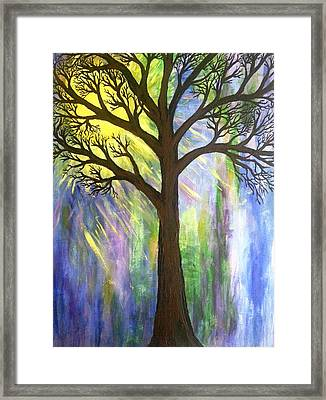 Tree On Blue  Framed Print by Christine Chase