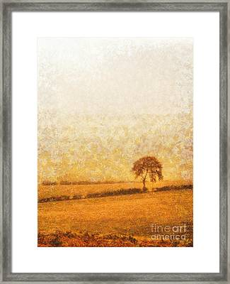 Tree On Hill At Dusk Framed Print by Pixel  Chimp
