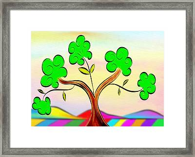 Tree On Rainbow Colored Landscape - Whimsical Artwork Framed Print by Gina Lee Manley