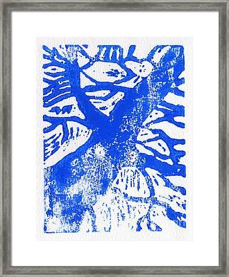 Tree Print Blue Framed Print by Christina Rahm