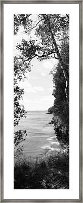 Trees At The Lakeside, Cave Point Framed Print by Panoramic Images