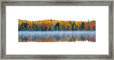 Trees In Autumn At Lake Hiawatha, Alger Framed Print by Panoramic Images