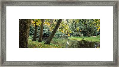 Trees Near A Pond In A Park Framed Print by Panoramic Images