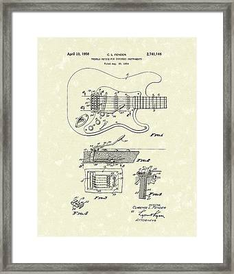 Tremolo Device 1956 Patent Art Framed Print by Prior Art Design