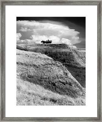Treshing Machine On Hill Top Framed Print by Donald  Erickson