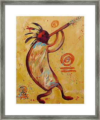 Tribal Ethnic My Red Kokopelli Framed Print by Carol Suzanne Niebuhr